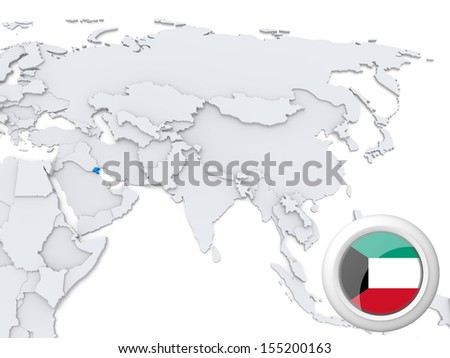 Highlighted Kuwait on map of Asia with national flag - stock photo