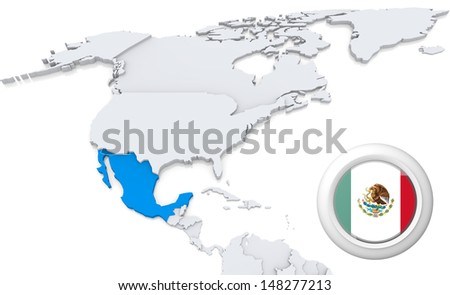 Highlighted Mexico on map of north america with national flag - stock photo