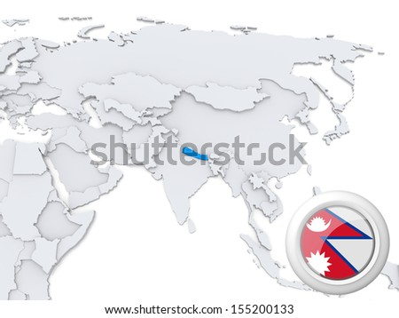 Highlighted Nepal on map of Asia with national flag - stock photo