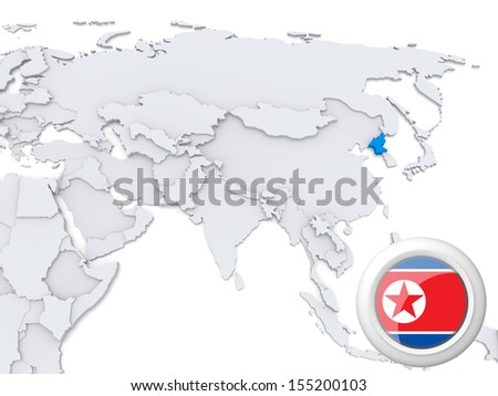 Highlighted North Korea on map of Asia with national flag - stock photo