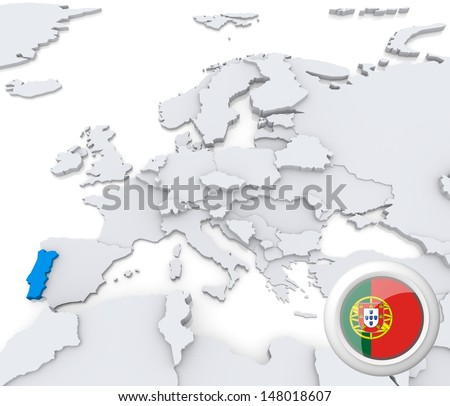Highlighted Portugal on map of europe with national flag - stock photo