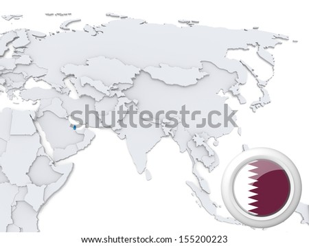 Highlighted Qatar on map of Asia with national flag - stock photo