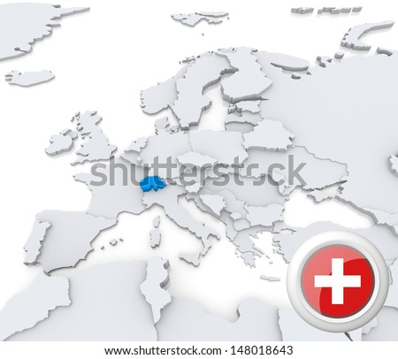 Highlighted Switzerland on map of europe with national flag - stock photo