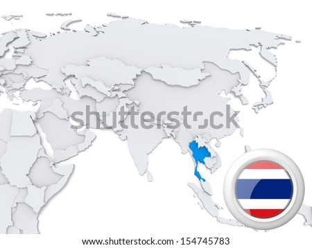 Highlighted Thailand on map of Asia with national flag - stock photo