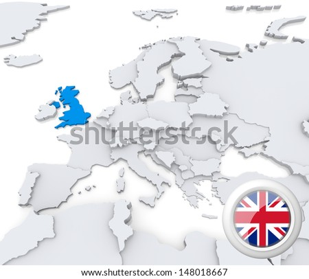 Highlighted United Kingdom on map of europe with national flag - stock photo