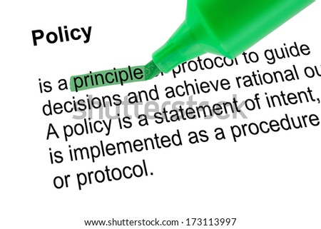 Highlighted word principle for Policy with green pen over white paper. Isolated white background. - stock photo