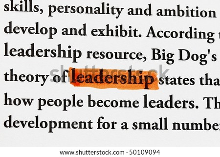 highlighter and word leadership - concept business background - stock photo