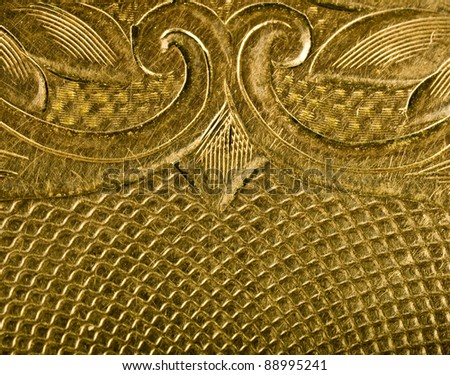 Highly detailed background carved in gold - stock photo