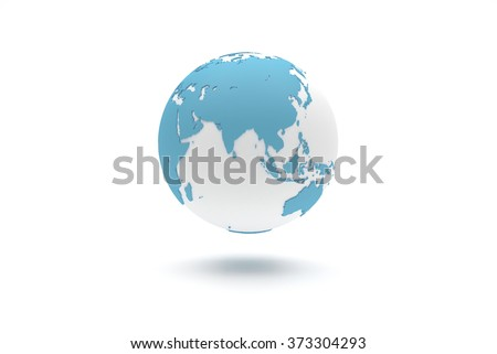 Highly detailed 3D planet Earth globe with blue continents in relief and white oceans, centered in Asia - stock photo