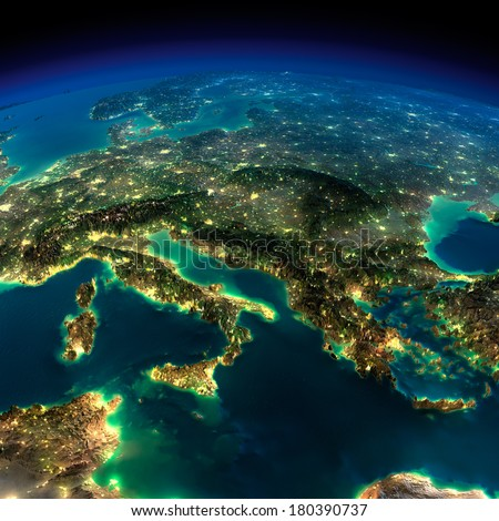 Highly detailed Earth, illuminated by moonlight. The glow of cities sheds light on the detailed exaggerated terrain. A piece of Europe - Italy and Greece. Elements of this image furnished by NASA - stock photo