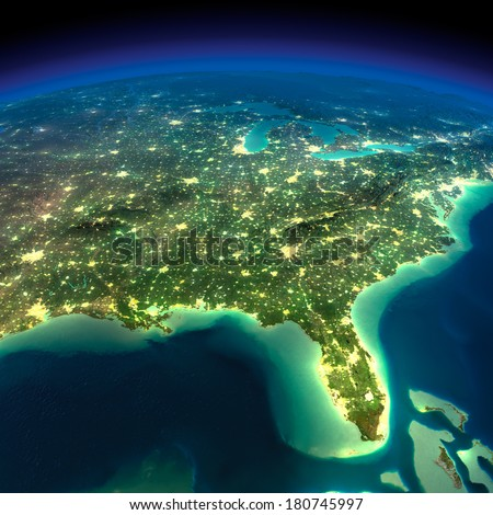 Highly detailed Earth, illuminated by moonlight. The glow of cities sheds light on the detailed exaggerated terrain. Night Earth. Gulf of Mexico and Florida. Elements of this image furnished by NASA - stock photo