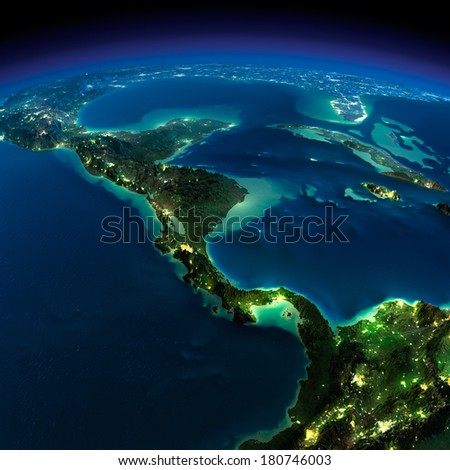 Highly detailed Earth, illuminated by moonlight. The glow of cities sheds light on the detailed exaggerated terrain. Night. The countries of Central America. Elements of this image furnished by NASA - stock photo