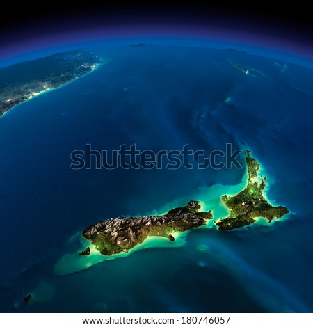 Highly detailed Earth, illuminated by moonlight. The glow of cities sheds light on the detailed exaggerated terrain. Night Earth. Pacific - New Zealand. Elements of this image furnished by NASA - stock photo