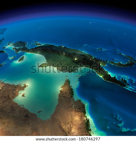 Highly detailed Earth, illuminated by moonlight. The glow of cities sheds light on the detailed exaggerated terrain. Night Earth. Australia, Papua New Guinea. Elements of this image furnished by NASA - stock photo