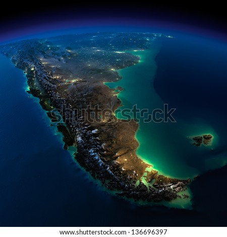 Highly detailed Earth, illuminated by moonlight. The glow of cities sheds light on the exaggerated terrain. A piece of South America - Argentina and Chile. Elements of this image furnished by NASA - stock photo