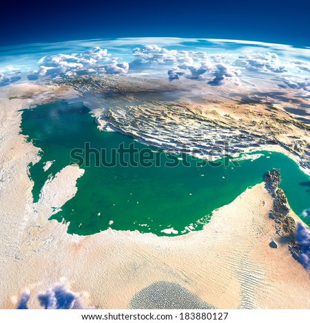 Highly detailed fragments of the planet Earth with exaggerated relief, translucent ocean and clouds, illuminated by the morning sun. Persian Gulf. Elements of this image furnished by NASA - stock photo