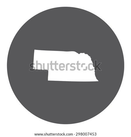 Highly detailed map inside a circle of the state of Nebraska - stock photo