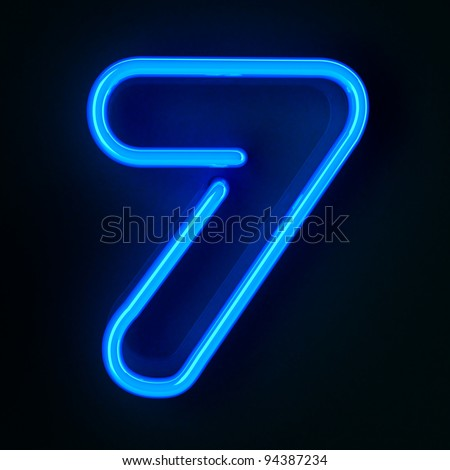Highly detailed neon sign with the number seven - stock photo