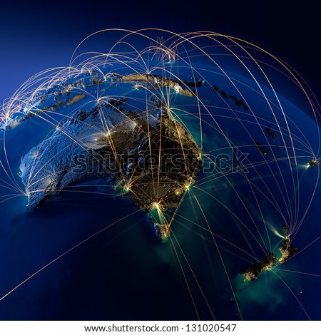 Highly detailed planet Earth at night, illuminated by light of cities, surrounded by a luminous network, representing the major air routes based on real data. Elements of this image furnished by NASA - stock photo