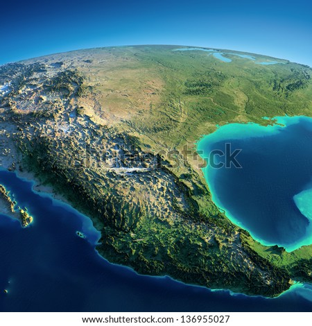 Highly detailed planet Earth. Exaggerated precise relief is illuminated by the rising sun from the east. Mexico and USA.  Elements of this image furnished by NASA - stock photo