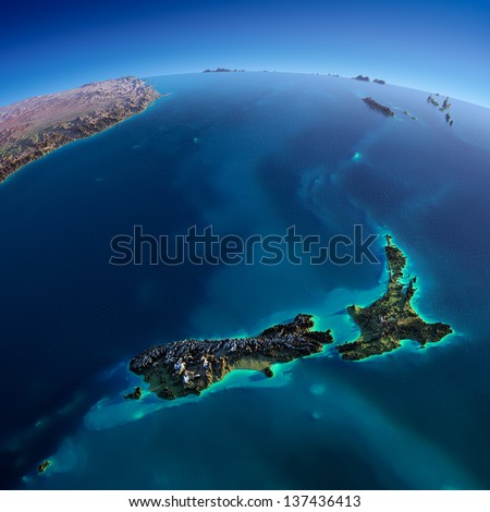 Highly detailed planet Earth. Exaggerated precise relief is illuminated by the rising sun from the east. Part of the Pacific Ocean, New Zealand.  Elements of this image furnished by NASA - stock photo
