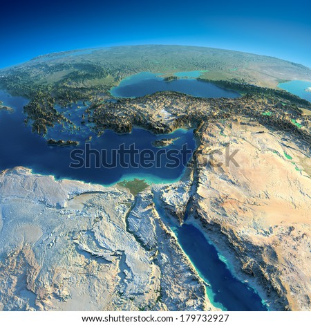 Highly detailed planet Earth in the morning. Exaggerated precise relief lit morning sun. Africa and Middle East.  Elements of this image furnished by NASA - stock photo