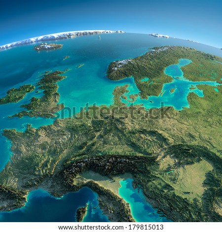 Highly detailed planet Earth in the morning. Exaggerated precise relief lit morning sun. Detailed Earth. Central Europe. Elements of this image furnished by NASA - stock photo