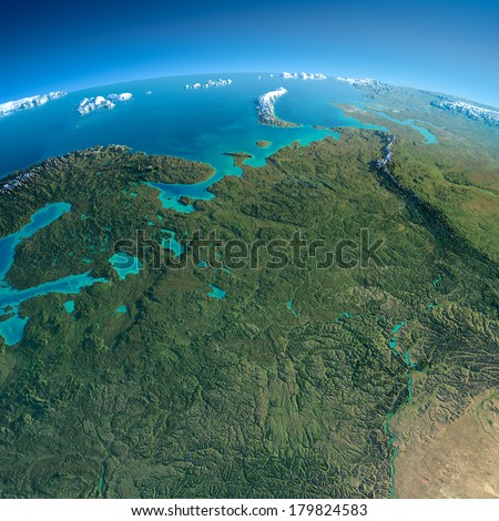 Highly detailed planet Earth in the morning. Exaggerated precise relief lit morning sun. Detailed Earth. European part of Russia. Elements of this image furnished by NASA - stock photo