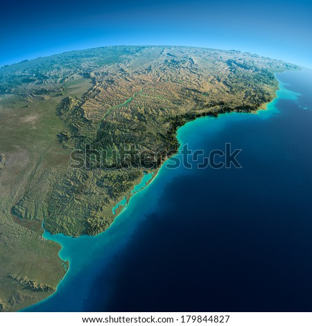Highly detailed planet Earth in the morning. Exaggerated precise relief lit morning sun. Detailed Earth. South America. Rio de La Plata. Elements of this image furnished by NASA - stock photo