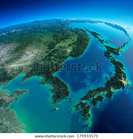 Highly detailed planet Earth in the morning. Exaggerated precise relief lit morning sun. Detailed Earth. Korea and Japan. Elements of this image furnished by NASA - stock photo