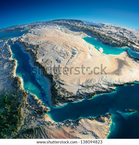 Highly detailed planet Earth in the morning. Exaggerated precise relief lit morning sun. Near East - Arabian Peninsula, Gulf of Aden, Saudi Arabia.  Elements of this image furnished by NASA - stock photo