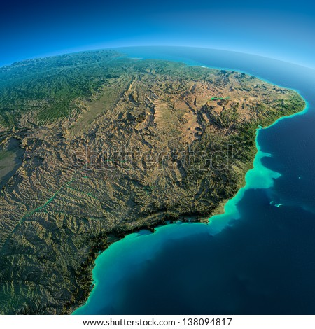 Highly detailed planet Earth in the morning. Exaggerated precise relief lit morning sun. South America, East Coast of Brazil.  Elements of this image furnished by NASA - stock photo