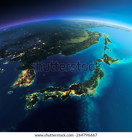 Highly detailed planet Earth. Night with glowing city lights gives way to day. The boundary of the night & day. Part of Asia, Japan and Korea, Japanese sea. Elements of this image furnished by NASA - stock photo