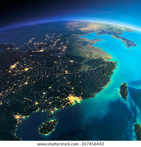 Highly detailed planet Earth. Night with glowing city lights gives way to day. The boundary of the night & day. Eastern China and Taiwan. Elements of this image furnished by NASA - stock photo