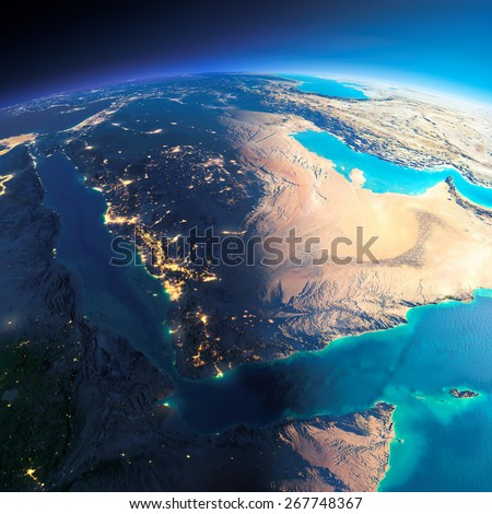 Highly detailed planet Earth. Night with glowing city lights gives way to day. The boundary of the night & day. Saudi Arabia. Elements of this image furnished by NASA - stock photo