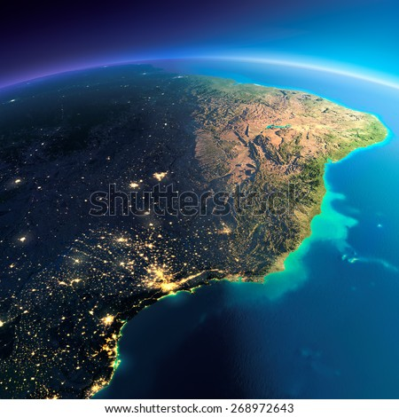 Highly detailed planet Earth. Night with glowing city lights gives way to day. The boundary of the night & day. East Coast of Brazil. Elements of this image furnished by NASA - stock photo