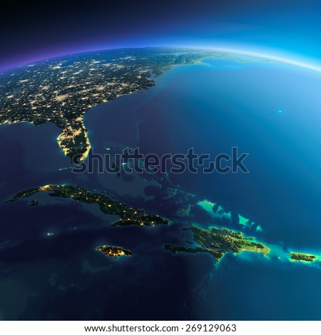 Highly detailed planet Earth. Night with glowing city lights gives way to day. The boundary of the night & day. Caribbean islands. Cuba, Haiti, Jamaica. Elements of this image furnished by NASA - stock photo