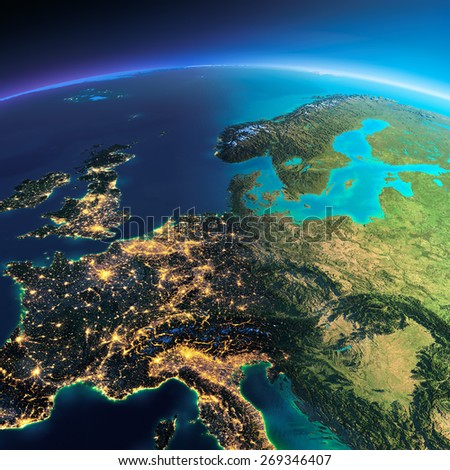 Highly detailed planet Earth. Night with glowing city lights gives way to day. The boundary of the night & day. Central Europe. Elements of this image furnished by NASA - stock photo