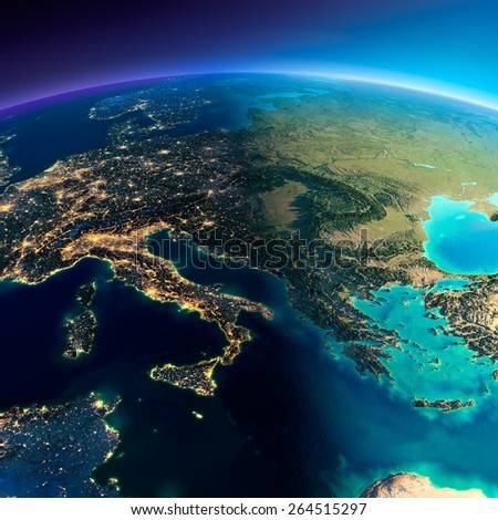 Highly detailed planet Earth. Night with glowing lights of the city gives way to day. The boundary of the night & day. Italy, Greece and the Mediterranean Sea. Elements of this image furnished by NASA - stock photo