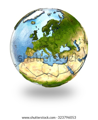 Highly detailed planet Earth with embossed continents and visible country borders featuring Europe. Isolated on white background. Elements of this image furnished by NASA. - stock photo