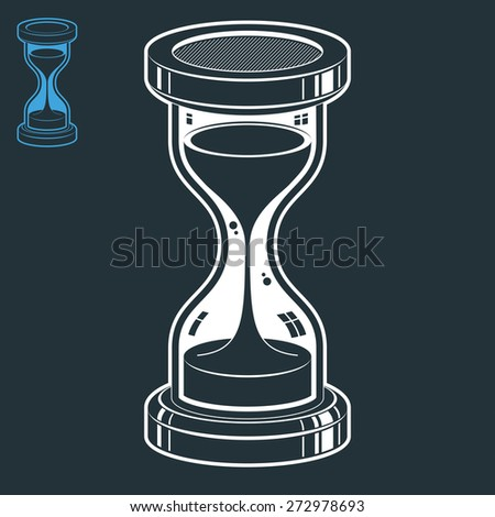 highly detailed sand-glass illustration. Antique classic hourglass. Retro clock silhouette isolated on dark background. Time without end conceptual icon, invert version included. - stock photo