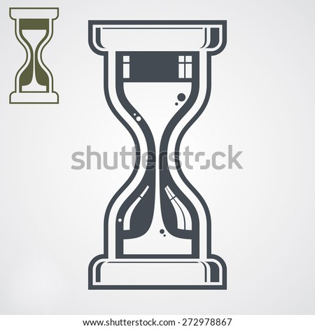 highly detailed sand-glass illustration, includes additional version. Antique classic hourglass. Retro clock silhouette. Time idea stylized icon isolated on white. - stock photo