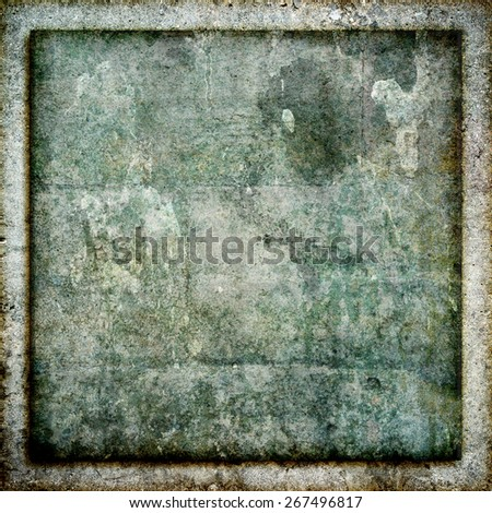 Highly detailed stone or rock wall style grunge texture background frame image in a square aspect ratio. - stock photo