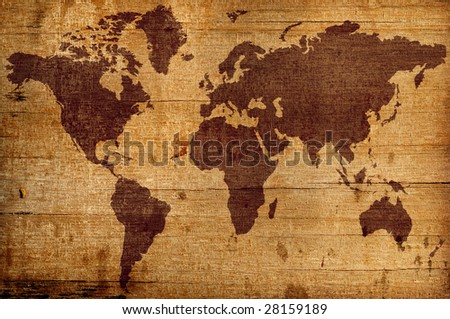 highly detailed wood texture background with world map - stock photo