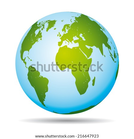 Highly detailed world map. African, american  and european continents. - stock photo