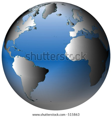 Highly-detailed world map in spherical co-ordinates, with Atlantic Ocean in view - stock photo
