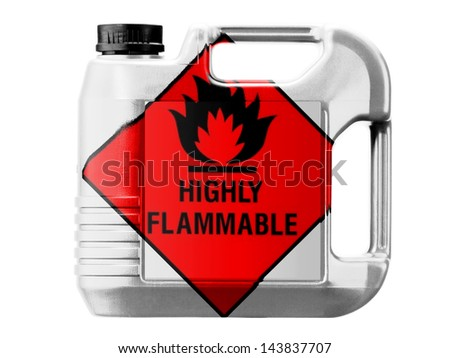 Highly flammable sign drawn on  painted on gas can - stock photo