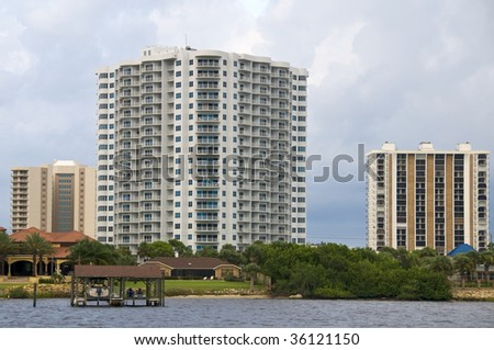Highrise Condominiums from the inter coastal Waterway - stock photo