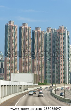 Highrise residential buildings in Hong Kong - stock photo