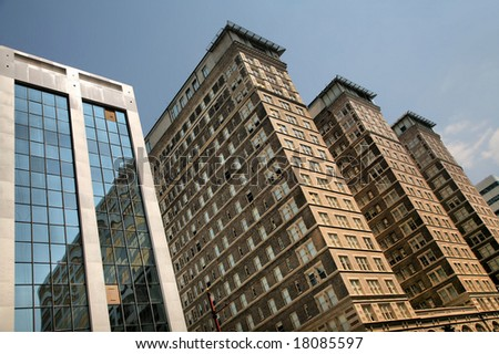 Highrises Battered by Hurricane Ike(Release Information: Editorial Use Only. Use of this image in advertising or for promotional purposes is prohibited.) - stock photo